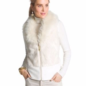 Chico's Faux Fur Faux Leather Vest Sz XL D